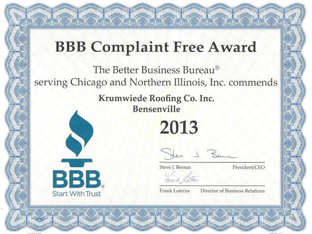 BBB Complaint Free 2013